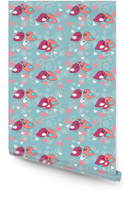 Seamless festive pattern with flowers and birds Wallpaper roll - Lifestyle