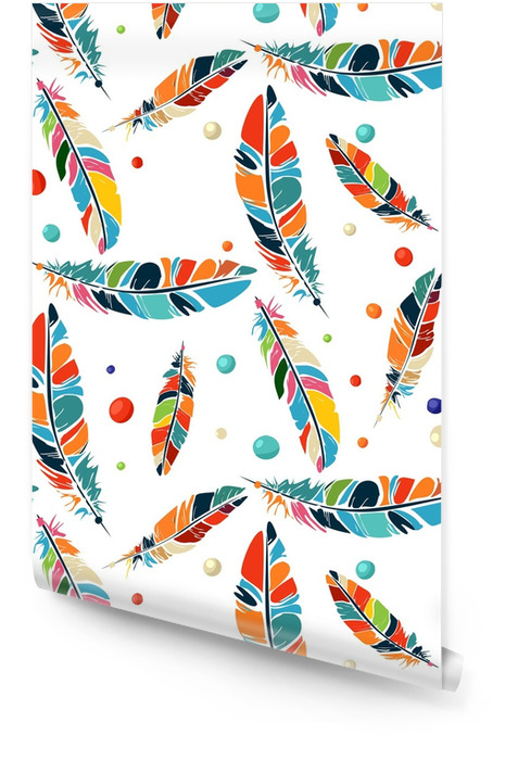 Watercolor beads and feathers pattern Wallpaper roll - Graphic Resources