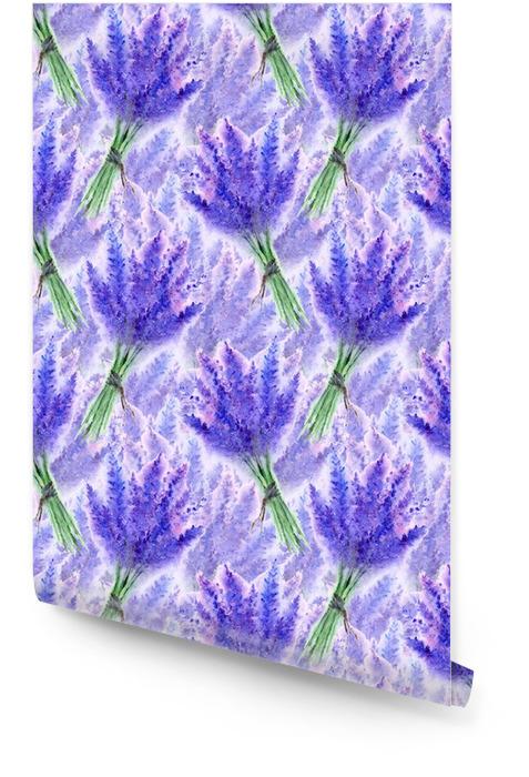 Aquarelle lavande fleur bouquet floral sans soudure texture de fond Rouleau de papier peint - Plantes et fleurs