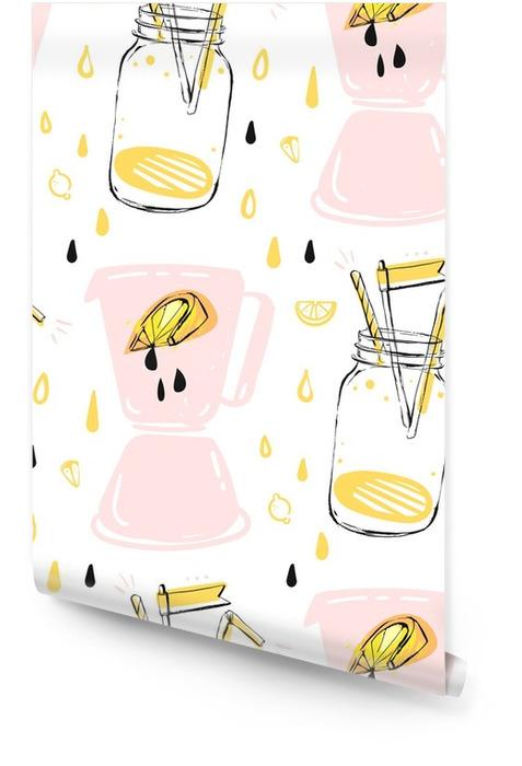 Dibujado a mano vector abstracto creativo divertido tiempo de verano de patrones sin fisuras con vaso de limonada, limonada de limón, gotas de jugo y licuadora aislado en blanco background.menu, etiqueta, logotipo, signo, mercado de agricultores. Rollo de papel pintado - Bebida