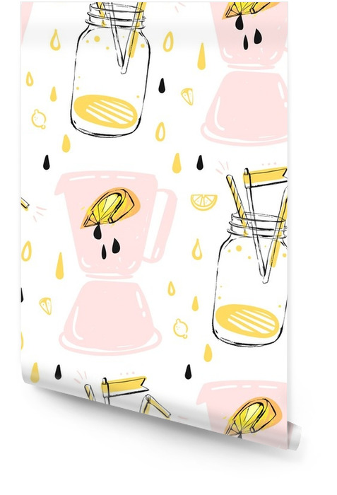 hand drawn vector abstract creative funny summer time seamless pattern with lemonade glass jar,lemon slise,juice drops and blender isolated on white background.Menu,label,logo,sign,farmmers market. Wallpaper roll - Drinks