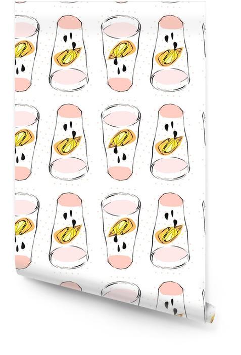 Dibujado a mano vector abstracto creativa divertido limonada ilustración con vaso de vidrio, limón, gotas y textura de lunares aislados en white.menu, signo, diseño de logotipo, dieta y desintoxicación concepto de estilo de vida saludable. Rollo de papel pintado - Comida