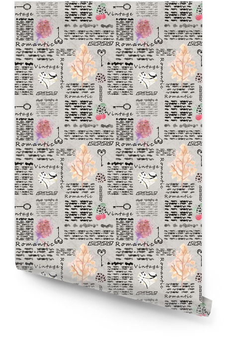 Seamless romantic vintage pattern, imitation pages of the notebook magazine. Wallpaper roll - Graphic Resources