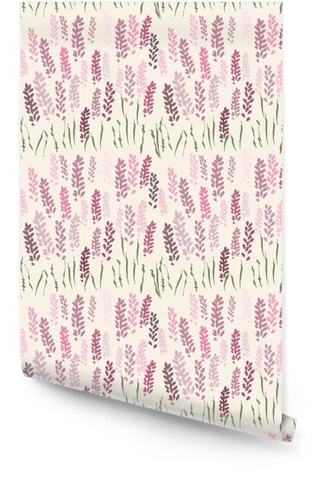 Modèle sans couture floral de vecteur avec des fleurs de lavande stylisées et de l'herbe. Rouleau de papier peint - Plantes et fleurs