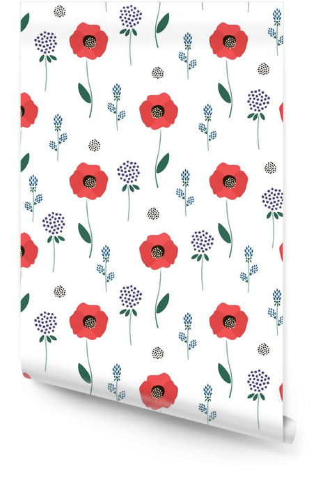 Floral pattern on white background. Cute spring flowers seamless background - clover, red poppies. Decorative texture. Design for fabric, wallpaper, textile and decor. Wallpaper roll - Plants and Flowers