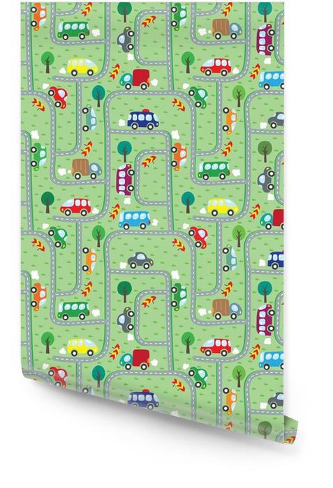 Autos en la carretera. patrón sin costuras Rollo de papel pintado - Transportes
