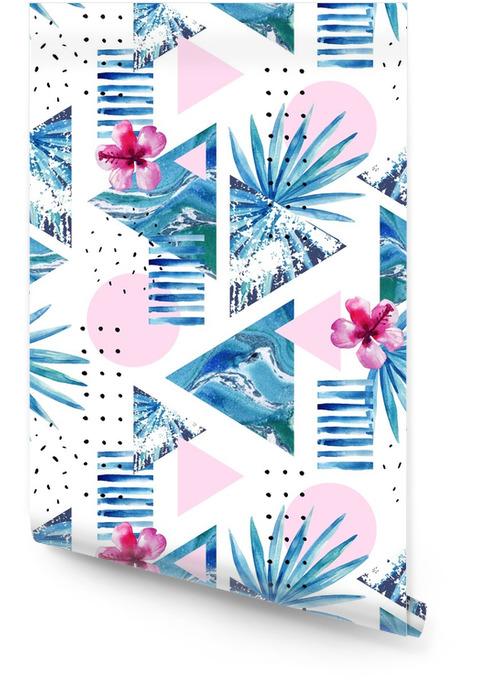 Abstracte zomer geometrische achtergrond met exotische bloemen en bladeren Behangrol - Grafische Bronnen