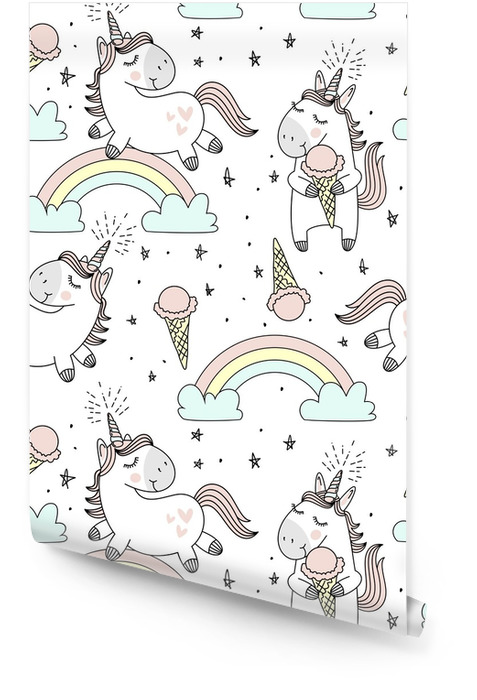 Wektor wzór ładny jednorożce, chmury, tęcza i gwiazdy. magiczne tło z małymi jednorożcami. Tapeta w rolce - Zwierzęta