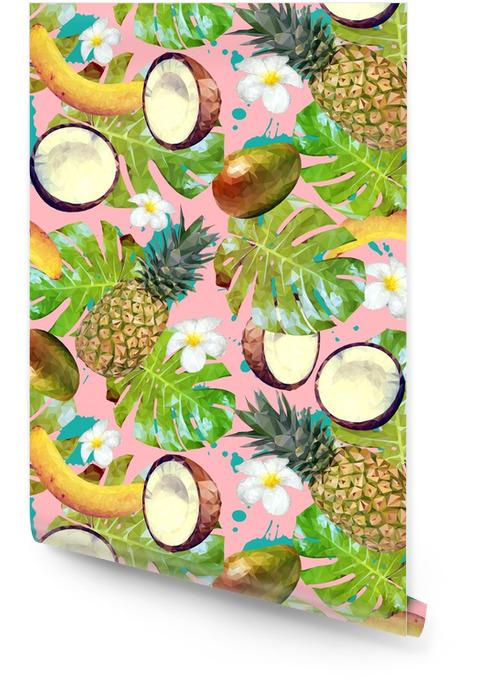 Wzór z tropikalnych owoców i roślin. wektor wzór z ananasem, banany, orzechy kokosowe, mango, liści palmowych i kwiatów plumeria Tapeta w rolce - Jedzenie