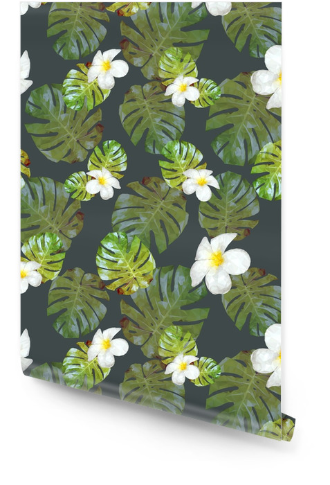 Naadloze vector patroon met palmbladeren en tropische bloemen. monstera en plumeria Behangrol - Bloemen en Planten