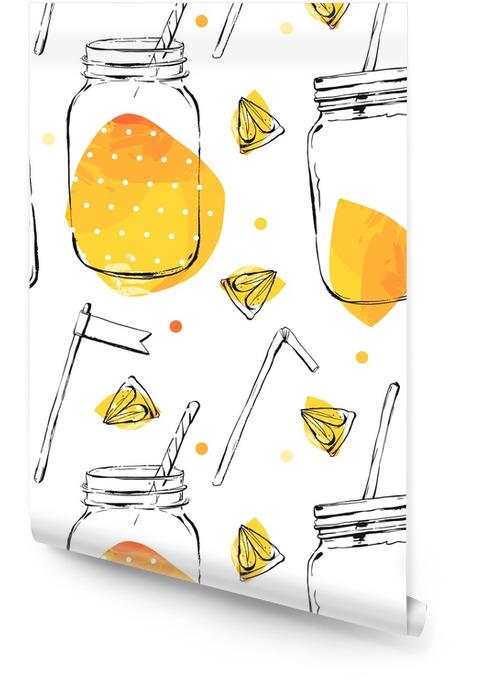 Sin patrón con limón y lima. Rollo de papel pintado - Comida