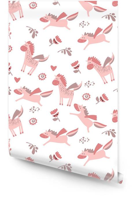 Modèle sans couture d'une licorne mignonne, cheval. illustration vectorielle Rouleau de papier peint - Animaux