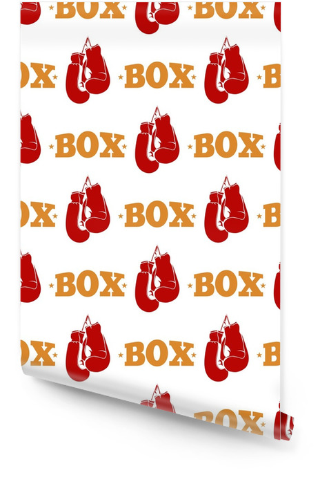 Sport pattern design - box seamless texture with red boxing gloves Wallpaper roll - Graphic Resources