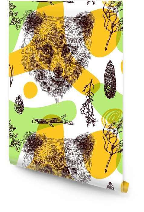 Dibujo de patrones sin fisuras del oso Rollo de papel pintado - Hobbies y entretenimiento