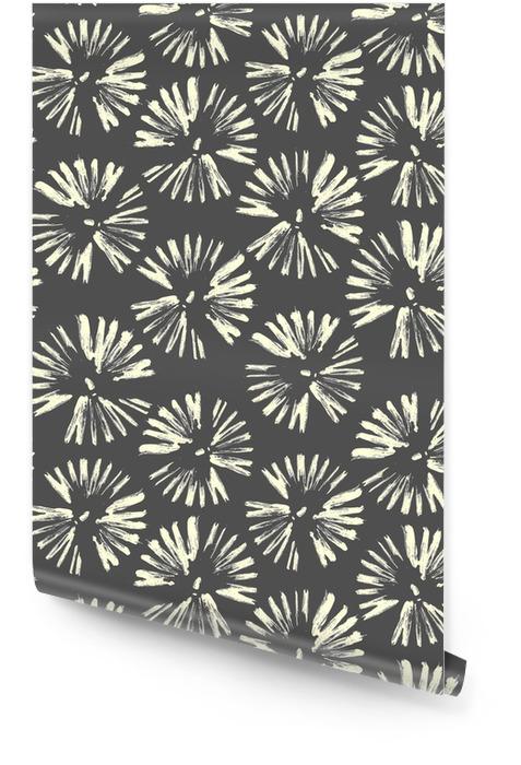 Círculos de pinceladas. patrón sin costuras Vector gris dibujado a mano flowers.dandelions, fuegos artificiales. Rollo de papel pintado - Recursos gráficos