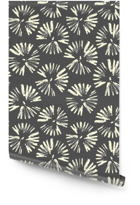 Circles of brush strokes. Seamless pattern. Vector gray hand drawn flowers.Dandelions, fireworks. Wallpaper roll - Graphic Resources