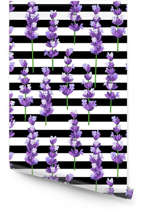 Modèle sans couture de fleurs de lavande violet provence sur les rayures noires. illustration vectorielle Rouleau de papier peint - Ressources graphiques