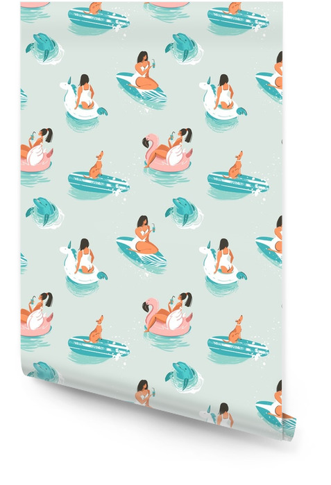 Hand drawn vector cartoon summer time seamless pattern with girls,pool floats,dog,dolphin an surfboard isolated on blue waves background Wallpaper roll - Landscapes