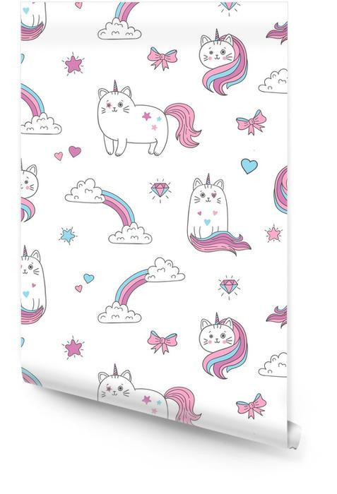 Wzór ładny koty jednorożce. tło wektor dla dzieci projektowania. Tapeta w rolce - Zasoby graficzne
