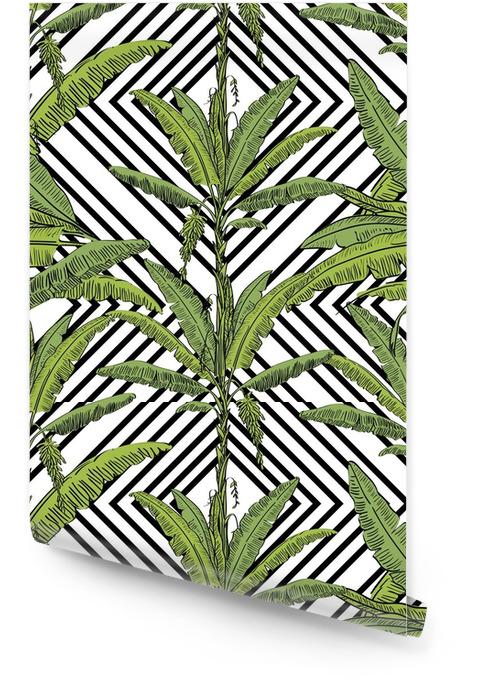 Vector il modello senza cuciture della palma della banana tirata con le foglie su fondo bianco in uno stile di schizzo. collezione esotica. Rotolo di carta da parati - Piante & Fiori