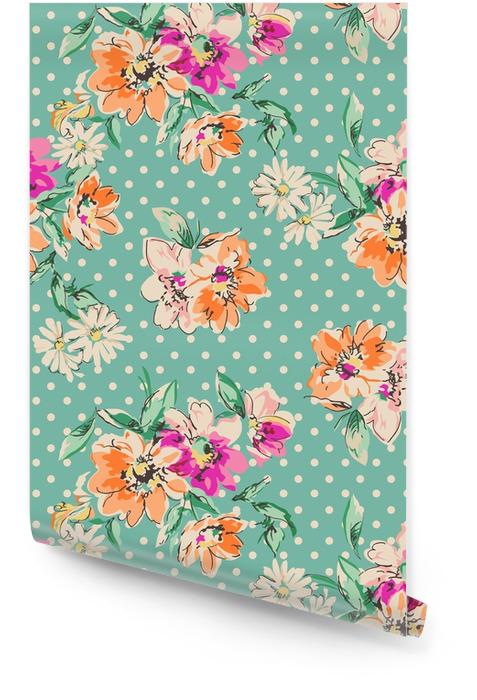 Retro ręcznie rysowane kwiaty na tle polka dot - bezszwowe tło Tapeta w rolce - Zasoby graficzne