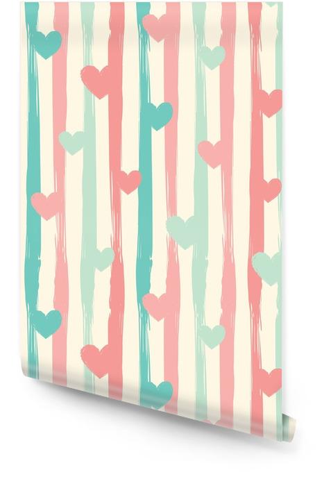 Pastell striper og hjerter. sømløs vektor mønster. Rulletapet - Grafiske Ressurser