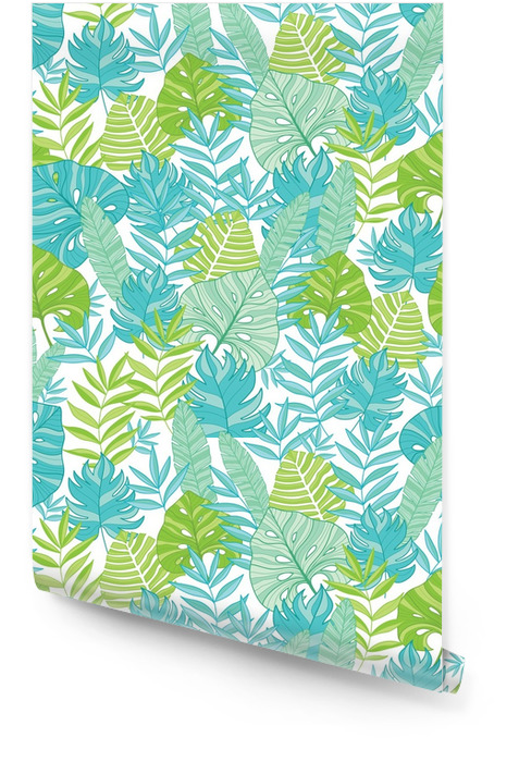 Vector blue green tropical leaves summer hawaiian seamless pattern with tropical plants and leaves on navy blue background. Great for vacation themed fabric, wallpaper, packaging. Wallpaper roll - Plants and Flowers
