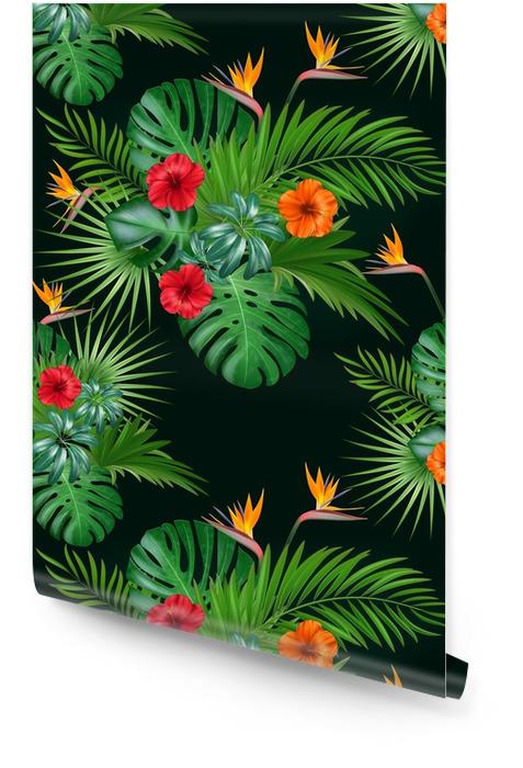 Bezszwowe botaniczny egzotyczny wektor wzór z zielonych liści palmowych i kwiatów hibiskusa na ciemnym tle. Tapeta w rolce - Zasoby graficzne