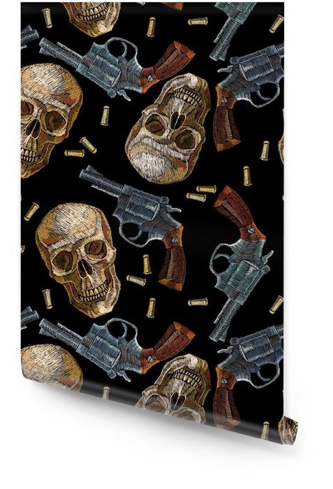 Bordado calaveras y pistolas de patrones sin fisuras. bordado oeste salvaje viejos revólveres y cráneos humanos, gángster fondo gótico Rollo de papel pintado - Hobbies y entretenimiento