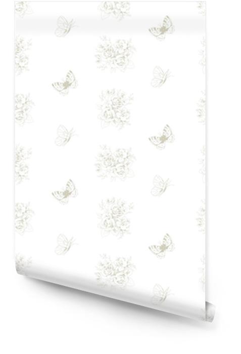 Bezszwowy piękny wzór z kwiecistymi motywami i motylami w francuskim stylu 3 Tapeta w rolce - Zasoby graficzne