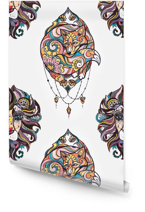 Modèle sans couture de lion et de renard dans les fleurs sur un fond blanc. Rouleau de papier peint - Passe-temps et loisirs
