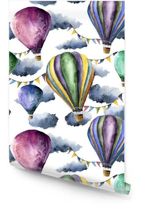 Patrón de acuarela con globos de aire caliente y nubes. globos de aire hechos a mano con guirnaldas de banderas, nubes y diseño retro. ilustraciones aisladas sobre fondo blanco Rollo de papel pintado - Paisajes