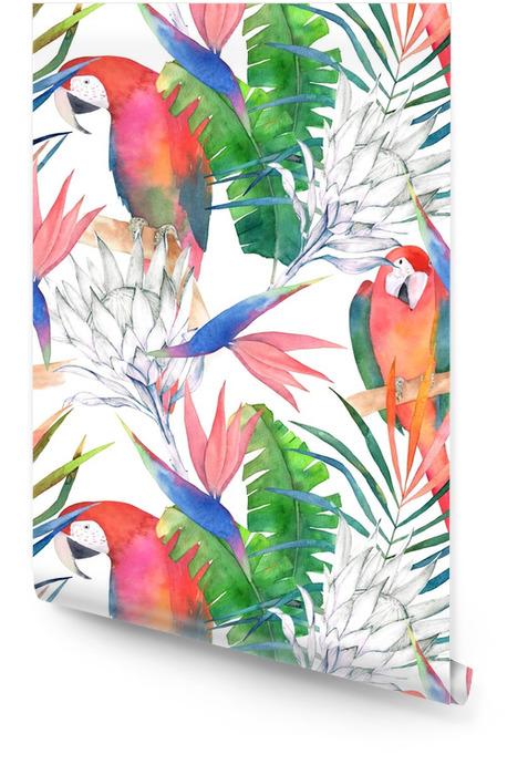 Modello senza cuciture tropicale con pappagalli, protea e foglie. stampa estiva dell'acquerello. illustrazione disegnata a mano esotica Rotolo di carta da parati - Risorse Grafiche
