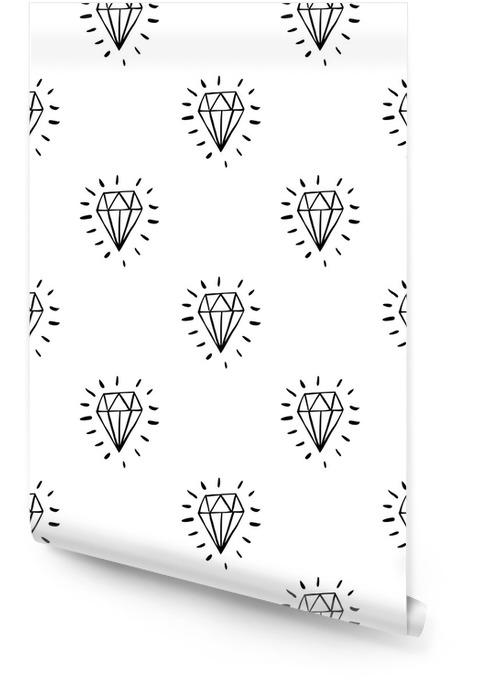 Vektor nahtlose Cartoon-Muster mit blauen Diamanten. Hand gezeichnetes Schwarzweiss-jewerly Muster für Papier, Gewebe, handgemachte Dekoration, Schrottanmeldung, Polygraphie, Kleidung, Karten. Tapetenrolle - Grafische Elemente
