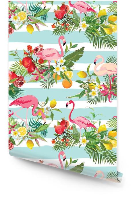 Tropikalne owoce, kwiaty i ptaki flamingo bezszwowe tło. retro letni wzór w wektorze Tapeta w rolce - Zwierzęta