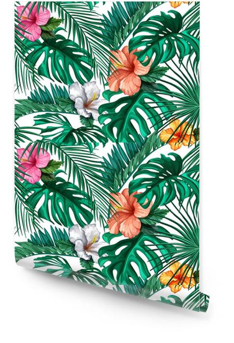 Wektor tropikalny liści, wzór hibiskusa Tapeta w rolce - Zasoby graficzne