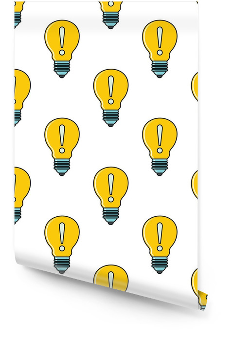 Idea lamp seamless pattern in cartoon style isolated on white background vector illustration Wallpaper roll - Business
