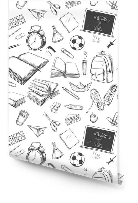 Bienvenido de nuevo a la escuela de patrones sin fisuras vector. elementos dibujados a mano. Suministros escolares. libros, cuaderno, cuaderno, mochila, lámpara, reloj despertador, fútbol, zapatillas de deporte, pizarra, lápiz, marcador, borrador Rollo de papel pintado - Estilo de vida