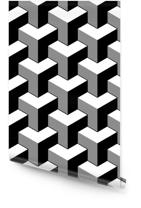 Abstrakte 3d Würfel geometrische nahtlose Muster in schwarz und weiß, Vektor Tapetenrolle - Grafische Elemente