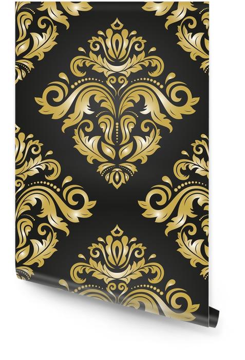 Orientalisches klassisches schwarzes und goldenes Muster. nahtloser abstrakter Hintergrund mit dem Wiederholen von Elementen. Orientierungshintergrund Tapetenrolle - Grafische Elemente