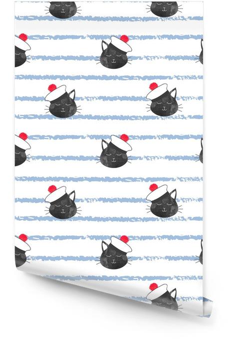 Bez szwu paski wzór morskich z żeglarz ładny kot. tło wektor dla dzieci. Tapeta w rolce - Zasoby graficzne