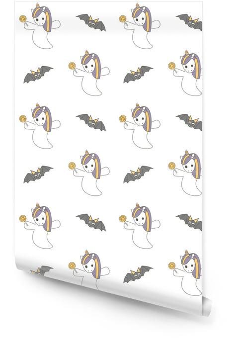 Illustration de fond mignon mignon vecteur transparente motif avec fantôme licorne et les chauves-souris Rouleau de papier peint - Animaux