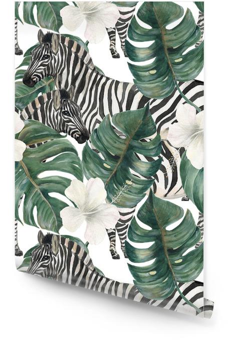Acuarela pintura de patrones sin fisuras con deliciosas hojas tropicales, flores de hibisco y cebra Rollo de papel pintado - Animales