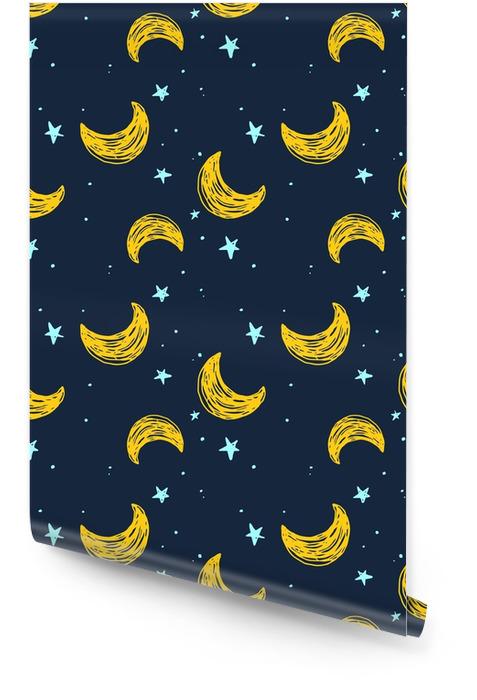 Modèle sans couture avec la lune et les étoiles Rouleau de papier peint - Industrie