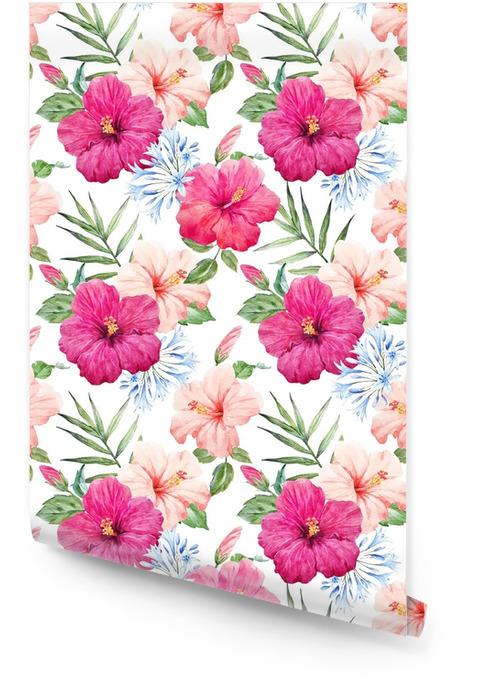 Akvarell tropisk hibiskus mönster Rulltapet - Växter & blommor
