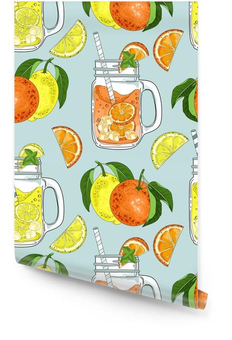 Dibujado a mano de patrones sin fisuras de naranjas y rodajas. bancos frescos. ilustración vectorial Rollo de papel pintado - Bebida