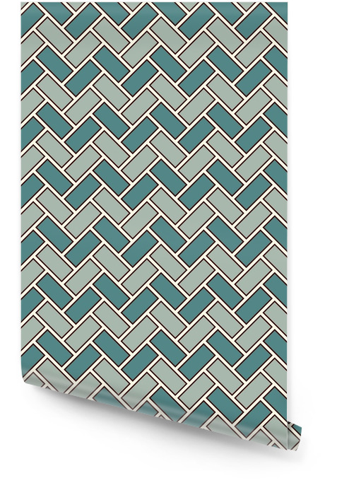 Herringbone wallpaper. Parquet background. Seamless pattern with repeated rectangular tiles. Classic geometric ornament Wallpaper roll - Graphic Resources