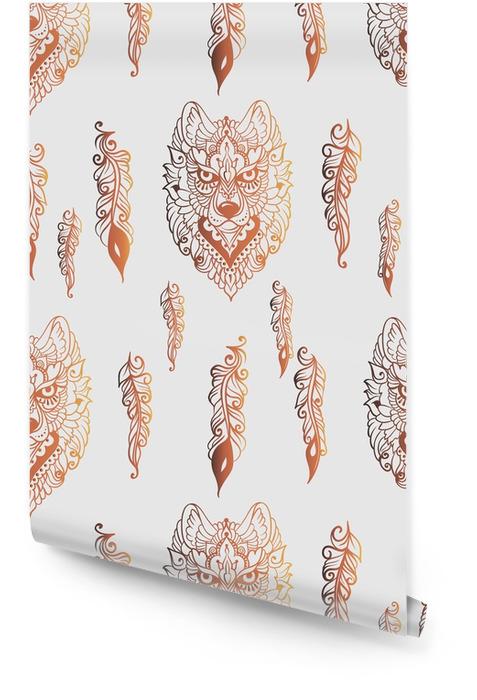 Modèle sans couture avec le loup et les plumes Rouleau de papier peint - Animaux