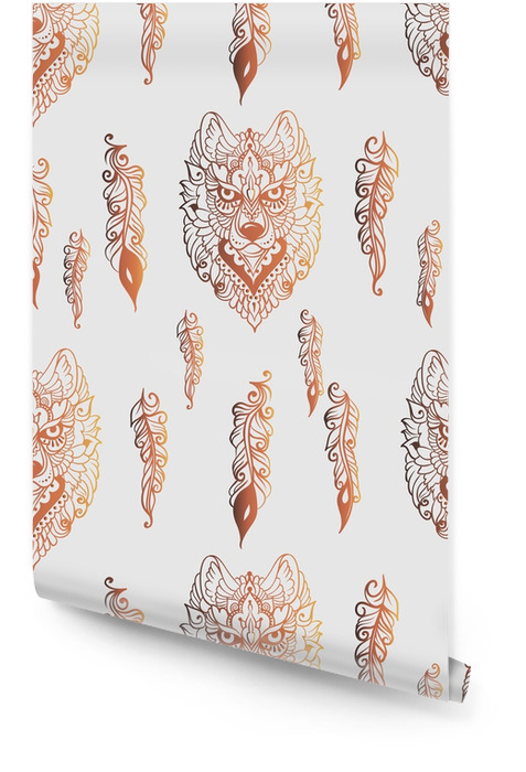 Seamless pattern with wolf and feathers Wallpaper roll - Animals