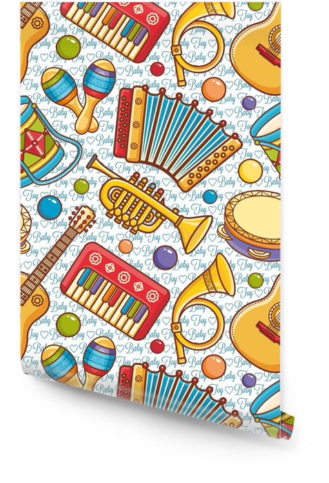 Musical instrument seamless pattern. Cartoon style Wallpaper roll - Graphic Resources